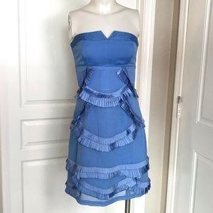 REISS BLUE PLEATED RUFFLE STRAPLESS DRESS